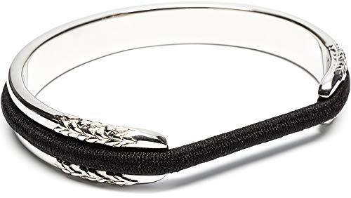 Ashley Silver Bracelets - Hair Tie Bracelet - Flower Design by Maria Shireen - Steel Silver - Medium