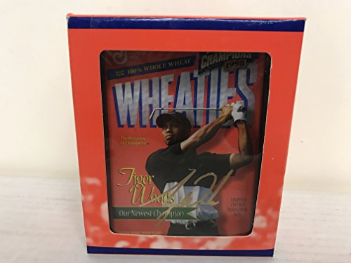 Tiger Woods PGA Golf Champion Commemorative 24 kt Gold Mini Wheaties Cereal Box with Holder and (Tiger Woods Wheaties Box)