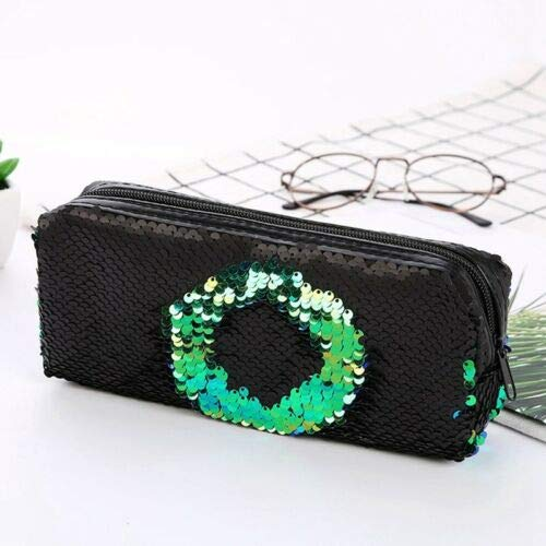 Hot Women Sequin Glitter Cosmetic Bag Pencil Box Coin Purse Makeup Case School (Color - Green)