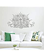 Vinyl Peel and Stick Mural Removable Wall Sticker Decals for Room Home Lotus Flower Namaste Mandala Boho Bohemian Home Decor Indian Pattern Yoga Studio Wall