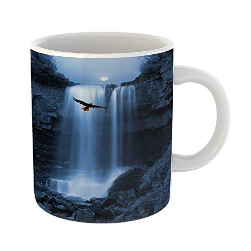 Emvency Coffee Tea Mug Gift 11 Ounces Funny Ceramic Natures Capture Bird of Pray Hovers By Stunning Waterfall Silhouetted the Moon Gifts For Family Friends Coworkers Boss Mug