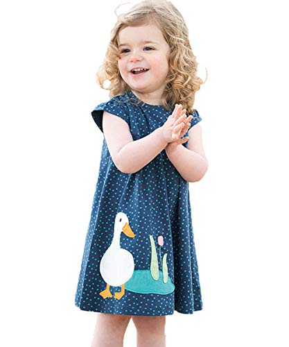 Little Girl Summer Short Sleeve Rond Neck Dot Duck Applique Organic Cotton Dress 2-7 Blue ()