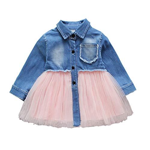 Infant Toddler Baby Girl Dress Denim Jeans Top Pink Tulle Tutu Dress Skirt Outfit (3T/4T, Denim top Pink Tulle -