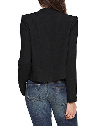 Jacket Classique Mode Coat Femme Blouson Veste Noir Manteaux naxTv