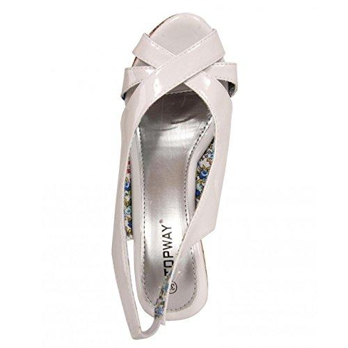 Zapatos de cuña de Mujer URBAN B026830-B7200 WHITE