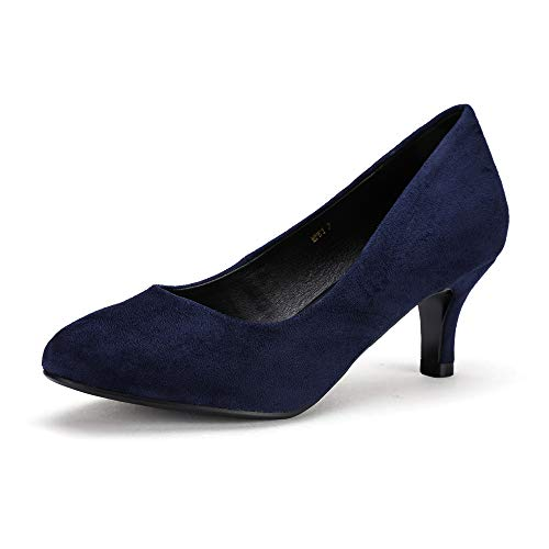 - IDIFU Women's RO2 Basic Round Toe Mid Heel Pump Shoes (Blue Suede, 9.5 B(M) US)