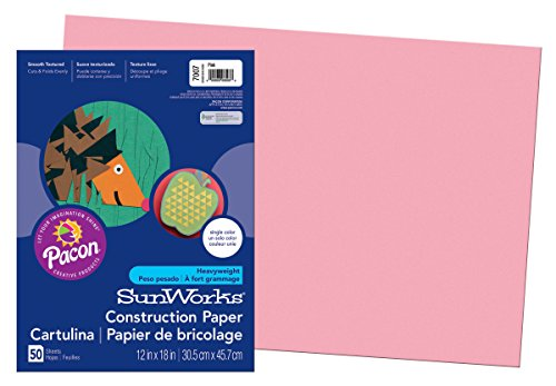Pacon SunWorks Construction Paper, 12-Inches by 18-Inches, 50-Count, Pink (7007)