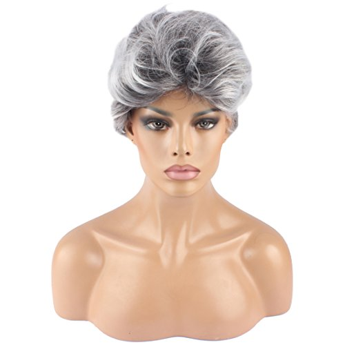 WeKen Women's Cosplay Wig Short Curly Synthetic Hair Silver -