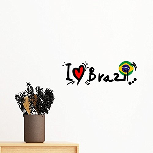 I Love Brazil Word Flag Love Heart Illustration Removable Wall Sticker Mural DIY Wallpaper Vinyl Room Home Decal Decor ()