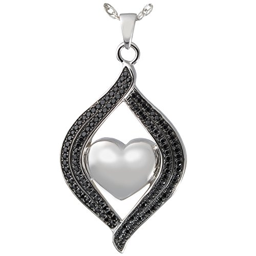 Cremation Memorial Jewelry: 14K Solid White Gold Teardrop Ribbon Heart Black Stones + Text Engraving