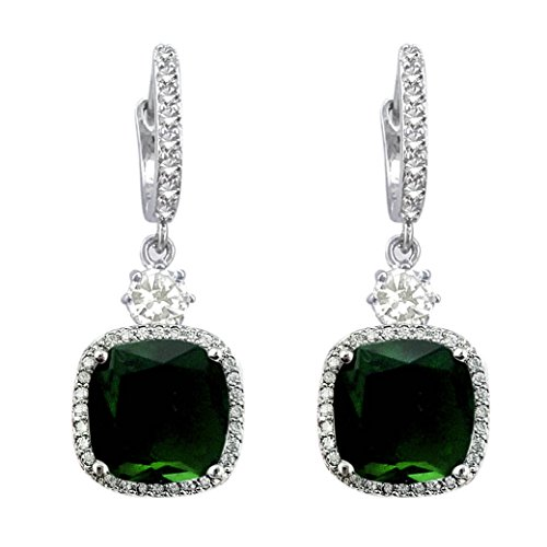 SELOVO Valentines Gift Beautiful Emerald Color Green CZ Square Leverback Dangle Earrings Silver Tone