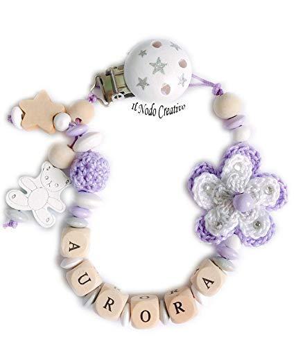 Chupetero con flores 3D de crochet | cadena de chupete con nombre ...