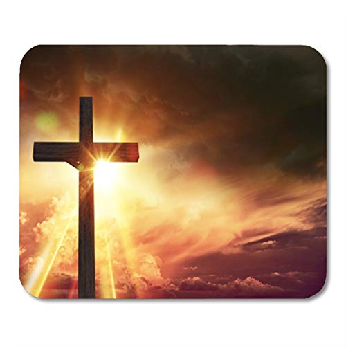 Semtomn Gaming Mouse Pad Crucifix Blessing Lights Large Wooden at Sunset with Right Side Copy Space 9.5