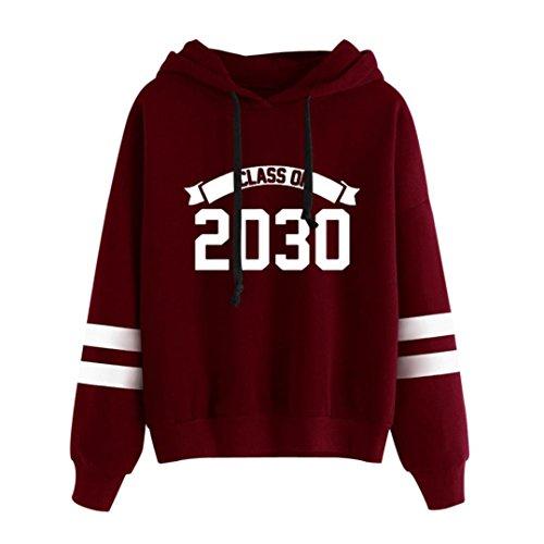 Womens Tops,Caopixx Ladies Girls Teens Long Sleeve Hoodie Sweatshirt Hooded Pullover Sports Tops Blouse (Asia Size XL, Red) ()