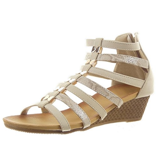Sopily - damen Mode Schuhe Sandalen Römersandalen glänzende Schlangenhaut Multi-Zaum - Beige