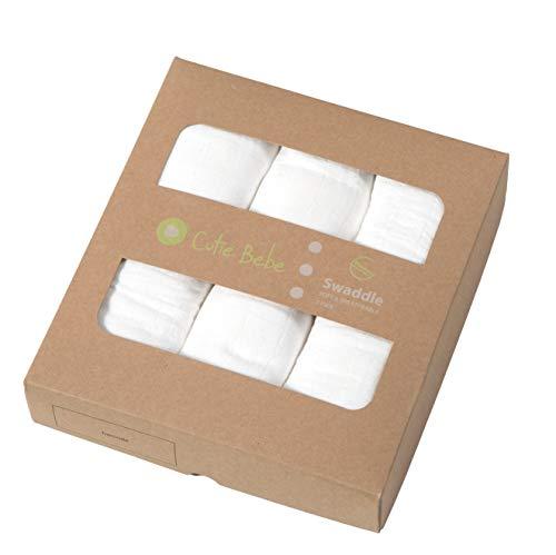 Cutie Bebe Nursery Muslin Swaddle Blanket Set- Large Bamboo Receiving Blanket for Newborn, Baby Girl or Boy Unisex, 47 x 47 (3 Pack, Pure Plain White)