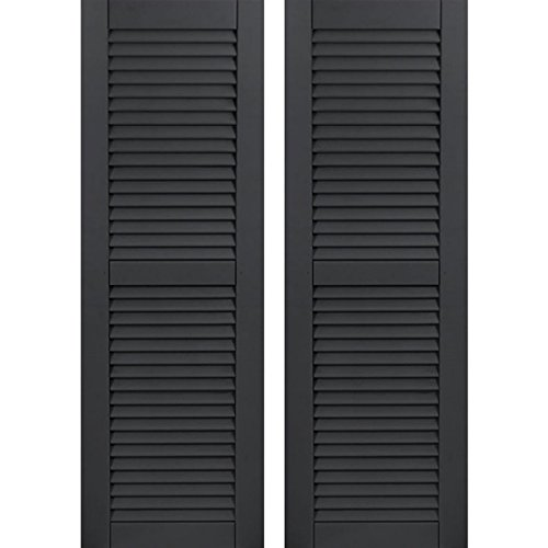 "Ekena Millwork CWL15X072BLC Exterior Composite Wood Louvered Shutters with Installation Brackets (Per Pair), Black, 15""W x 72""H"