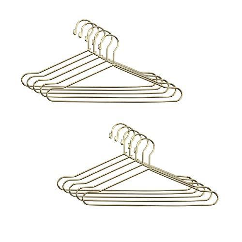 JANOU 10pcs Cute Dollhouse Clothes Hang Miniature Wire Clothes Stand (Gold)