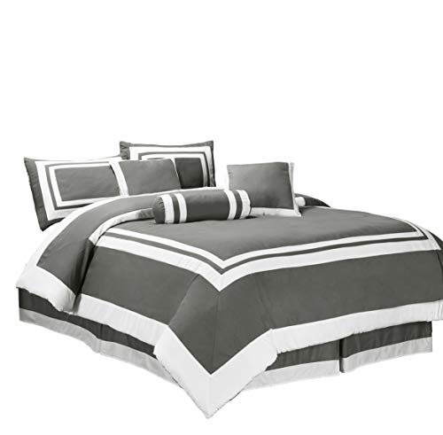 Chezmoi Collection 7pc Gray White Block Hotel Style Comforte