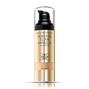 Max Factor Ageless Elixir 2 en 1 Base de Maquillaje + Sérum, Tono 75 Golden - 4 gr