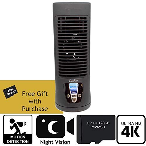SPY Gadgets | 4K Hidden Camera Spy Camera Home Surveillance Nanny Cam DVR Fan | Zone Shield HD 2160P Hidden Video Camera with Night Vision, Motion Activation or Constant Record