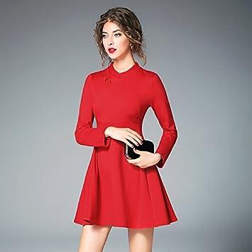 ZHUDJ Vestido De Novia Vestidos De Gran Tamaño _ Otoño Rojo Cheongsam Dress Code Manguito Recto