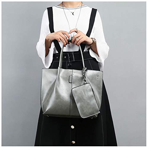 Gray 2PC Handbag Brown Shoulder 36cm11cm27cm Set Women Bag wqSqXA1