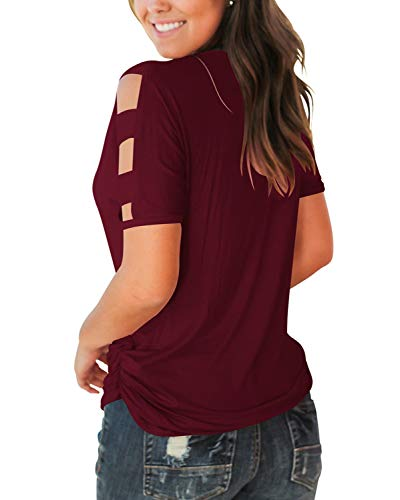 Jescakoo Women's Short Sleeve Cut Out Cold Shoulder Tops Deep V Neck T Shirts 5