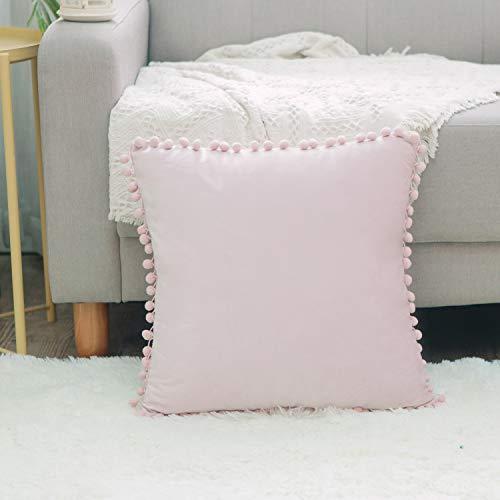 Ball Fringe Baby - NATUS WEAVER Soft Velvet Ball Fringe Pom Poms Baby Pink Throw Pillow Cover Cushion Case for Couch Sofa Home Decor 14 x 14 Inch 35 x 35 cm