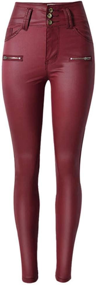 LaoZanA Pantalón Cuero de Imitación Cintura Alta con Cremalleras Mujer
