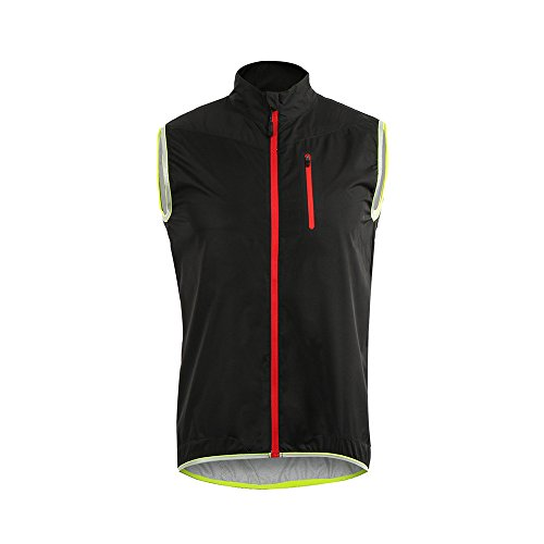ARSUXEO Men's Cycling Vest Running Vest Sleeves Windproof Reflective 17V2 Black Size Large