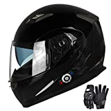 Motorcycle Bluetooth Helmets,FreedConn Flip up Dual Visors Full Face Helmet,Built-in Integrated Intercom Communication System(Range 500M,2-3Riders Pairing,FM radio,Waterproof,XL,Gloss Black)