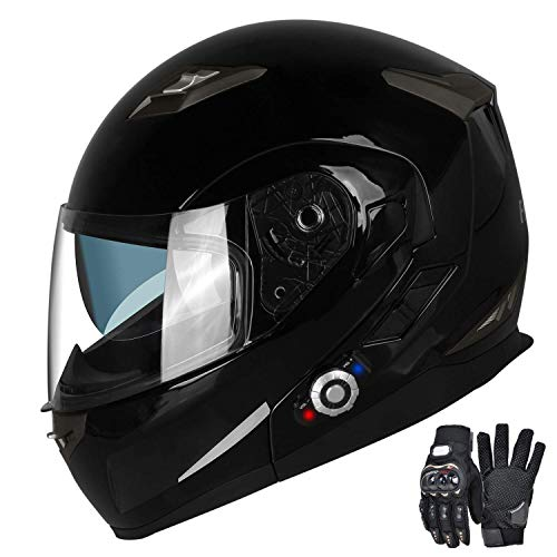 (Motorcycle Bluetooth Helmets,FreedConn Flip up Dual Visors Full Face Helmet,Built-in Integrated Intercom Communication System(Range 500M,2-3Riders Pairing,FM radio,Waterproof,L,Gloss Black))