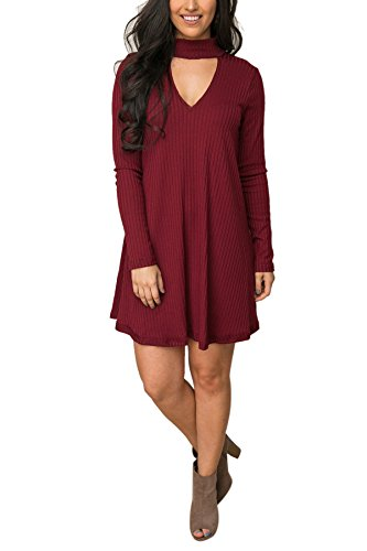 Women's Choker V Neck Ribbed Knit Loose Sweater Dress Long Sleeve XL Wine