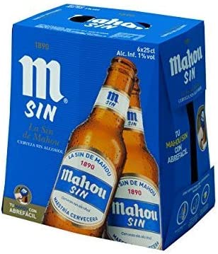 Mahou sin Alcohol Cerveza Dorada Lager - Pack de 6 x 25 cl: Amazon ...