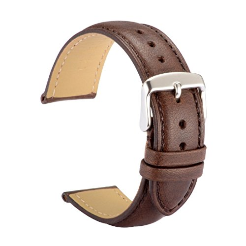 20 Mm Leather Watch (WOCCI Watch Bands 20mm Dark Brown Vintage Leather Watch Strap with Silver Metal Pins Buckle for Men or Women)