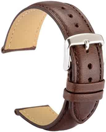 WOCCI Watch Bands 18mm Dark Brown Vintage Leather Watch Strap with Silver Metal Pins Buckle for Women or Men
