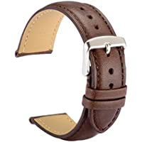 WOCCI Watch Bands 20mm Dark Brown Vintage Leather Watch Strap with Silver Metal Pins Buckle for Men or Women