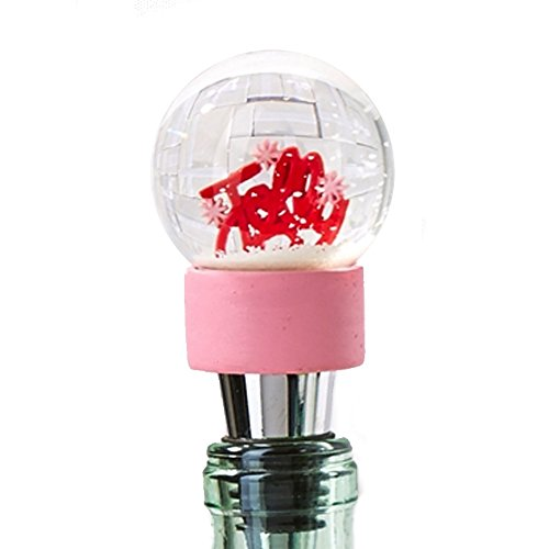 Holiday Cheer Bottle Stopper Snow Snowglobe JOLLY 80433-20-A Twos Company ()