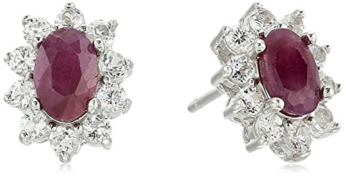 - Sterling Silver Natural Ruby and White Topaz Halo Stud Earrings
