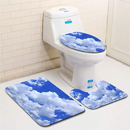 MTSJTliangwan 3-Piece Bathroom Set, Bathroom Rug + Contour pad + lid Toilet seat, Abstract Clouds on The Blue Sky Comfortable Flannel Rug