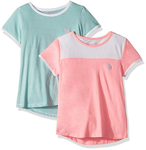 U.S. Polo Assn. Girls' Little 2 Pack T-Shirt, Crew Neck Mint Stripes with Heather Pink Multi, (Stripe Crew Tee)