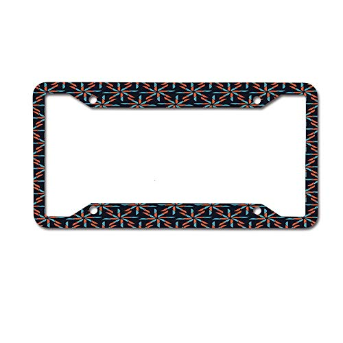 (Personalized Metal License Plate Frame Holder, Decorative Aluminum License Plate Frame - Pinwheel Designs with Dark Toned Backdrop Abstract Pattern)