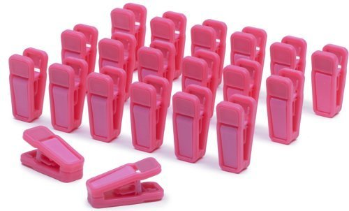 Bluewo Plastic Slim-Line Finger Clips, Hanger Clips Pack of 20 (Pink)