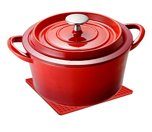Unicook Enameled Cast Iron Dutch Oven,2.5-Quart, 20cm Diameter,Bonus of 1pc Heat Resistant Pot Holder,Black Matt Enamel Interior