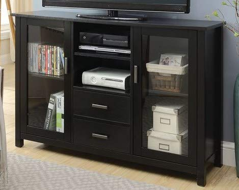70 Inch Tv Stand - Black Wood Glass Door Multi Storage Highboy - Display Your TV in Style