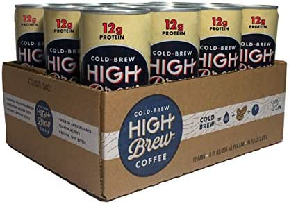 High Brew Cold Brew Coffee Creamy Cappuccino Plus Protein, 8 Ounce Can, Pack of 12