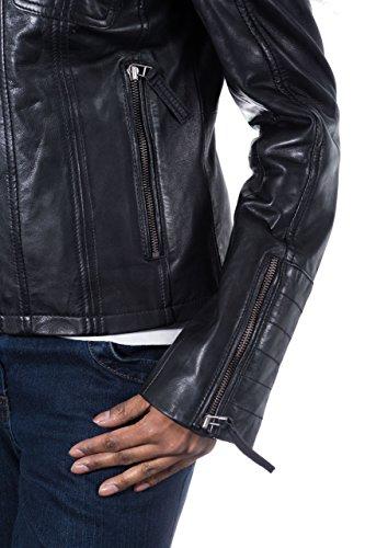 Nappa Boucle ˆ Mode Cuir Noir Veste La En De Avec Col 7qznPX