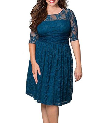 [Anfee Women's Plus Size Elegant Floral Lace Half Sleeve Bridesmaid Dress] (Cheap Plus Size Fancy Dress)