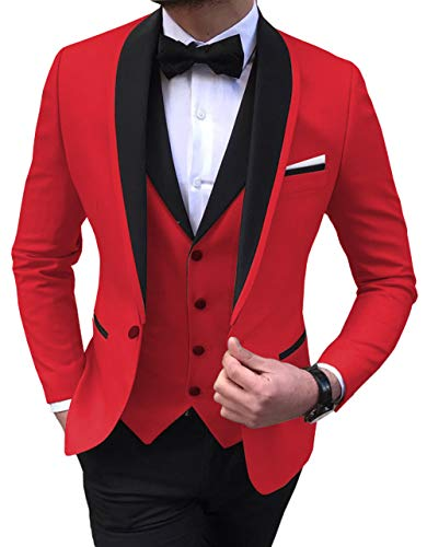Aesido Men's Suit Formal 3 Pieces Regular Fit Shawl Lapel Solid Prom Tuxedos Wedding Groomsmen (Blazer+Vest+Pants) 2019(Red,38US)